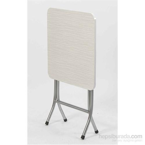 Vural Ahşap Katlanabilir Beyaz 60X60 Katlanır Masa
