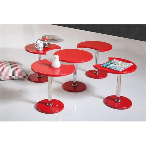 Sanal Mobilya Papatya 5'Li Orta Sehpa Kırmızı