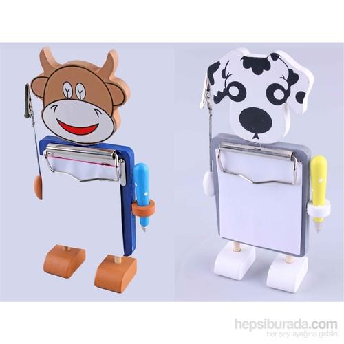 Wooden Toys 2'li Hayvan Figürlü Ahşap Kalemli Notluk Seti