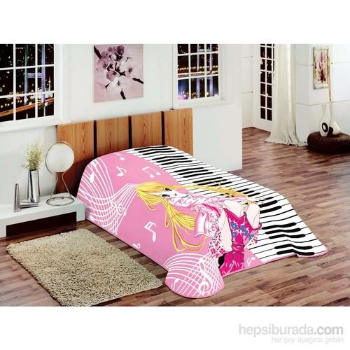 Merinos Tek Kişilik Fashion Battaniye Piyanolu Kız Pembe