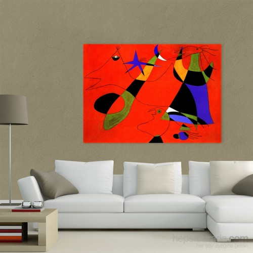 Atlantis Tablo Personages on a Red Ground 100X70 Cm