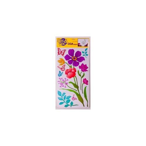 Deconation Salon Etiket Çiçekler Ve Kelebkeler