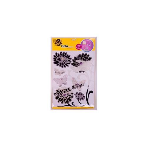 Deconation Renkli Aynalı Etiket Eflatun Büyük Çiçek Ve Kelebekler