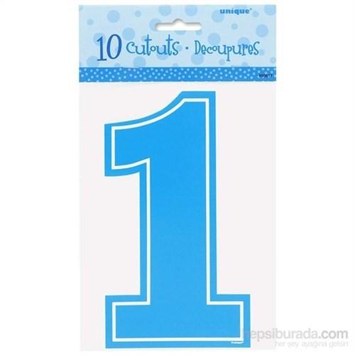 Birinci Yaş Günü Partisi Mavi Mini 1 Rakamlar 10 Adet