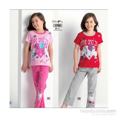 Roly Poly 1756 Chole And Zoe Kız Çocuk Pijama Takımı Kırmızı-Gri 1 Yaş (86 Cm)