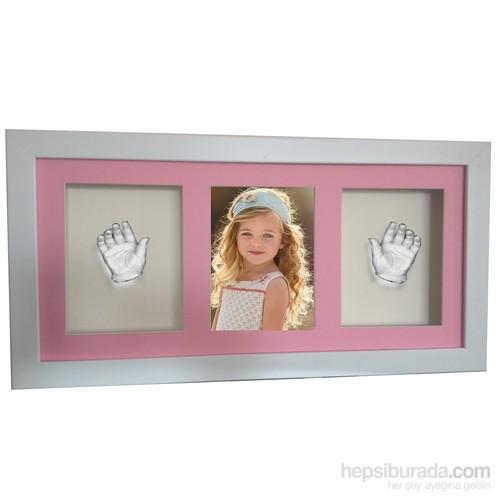 Küçük İzler Beyaz Çerçeveli Resimli 3 Bölmeli, Aljinat ile 3 boyutlu Çocuk El İzi Heykeli Seti