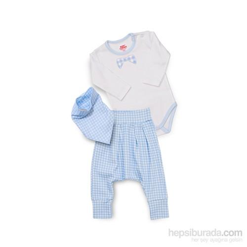 Baby Corner Şalvar Takım/ Papyon / Beyaz Mavi