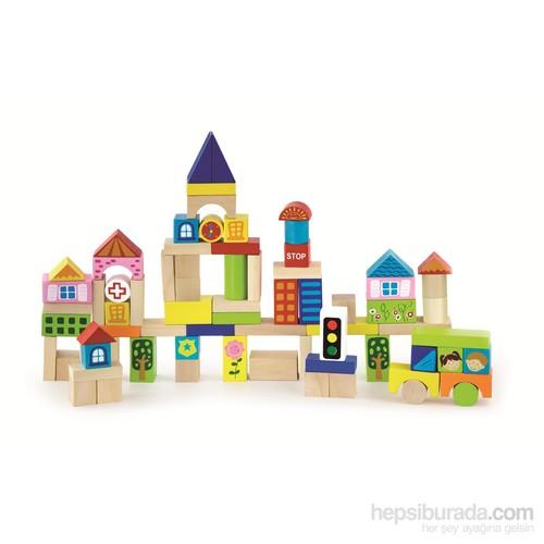 Vıga Toys Ahşap Blok - Şehir - 75 Parça