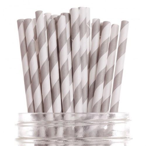 Pandoli 20 Cm Gümüş Beyaz Çizgili Kağıt Pipet 25 Adet