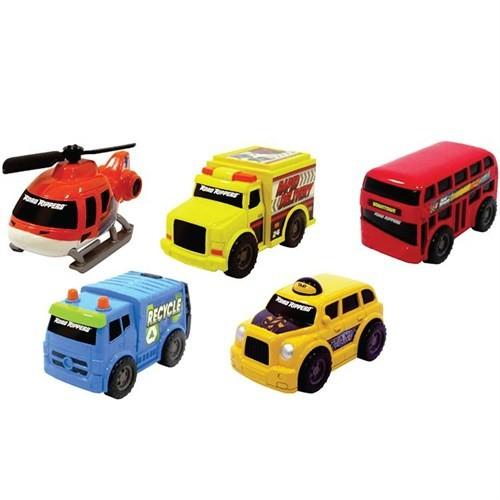Rr Mini Şehir Araçları 5 Li Set 9 Cm Ulaşım Araçları