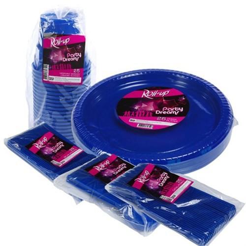 Pandoli 125 Parça 25 Kişilik Plastik Parti Sofra Seti Lacivert Renk