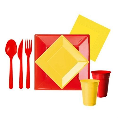 Pandoli 127 Parça Sarı Kırmızı Renk Plastik 16 Kişilik Parti Sofra Seti