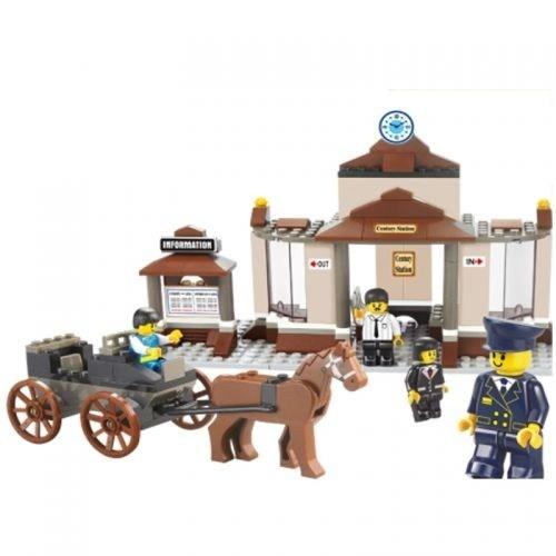 Sluban Yapboz Blok 175 Parça İstasyon Figürlü At Arabalı