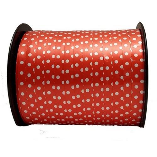 Pandoli Kırmızı Beyaz Renk Puantiyeli Plastik Rafya 200 Metre