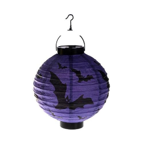 Pandoli 25 Cm Led Işıklı Kağıt Yarasa Desenli Halloween Feneri Mor Renk