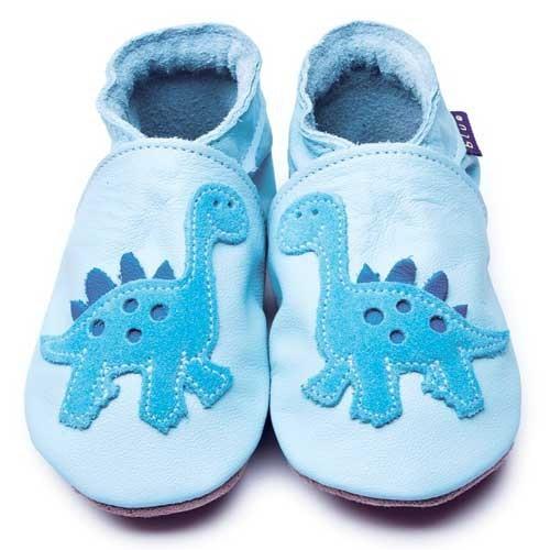 İnch Blue Hakiki Deriden Patik Dino Baby Blue