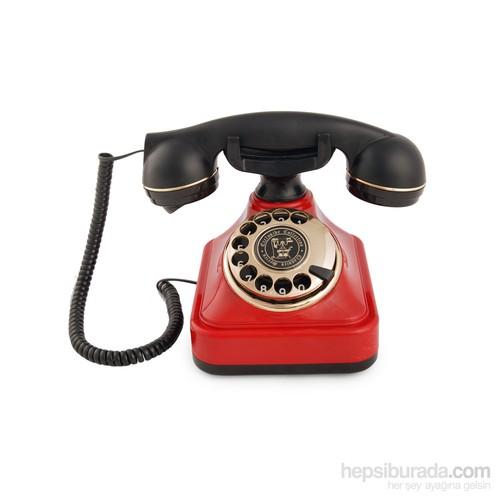 Anna Bell Klasik Çevirmeli Kırmızı Telefon