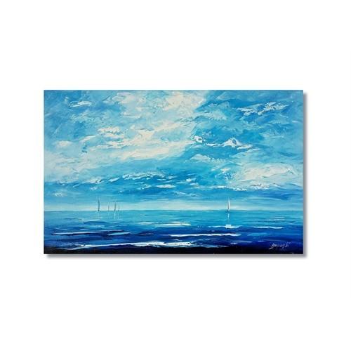Tictac Ufuktaki Yelkenliler Kanvas Tablo - 50X75 Cm