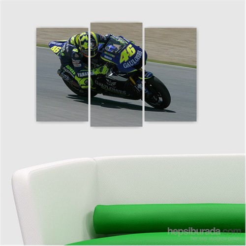 Dekoriza Motorsiklet 3 Parçalı Kanvas Tablo 80X50cm