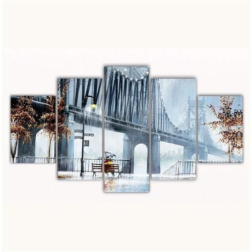 Tictac 5 Parça Kanvas Tablo - Köprü Altı - 100X60 Cm