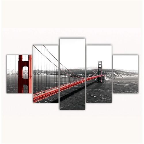 Tictac 5 Parça Kanvas Tablo - Golden Gate - 100X60 Cm