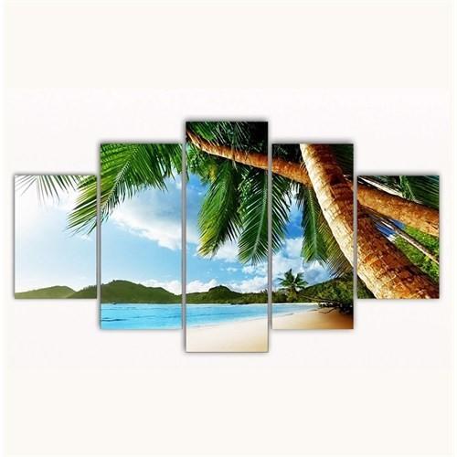 Tictac 5 Parça Kanvas Tablo - Sahildeki Palmiyeler - 125X75 Cm