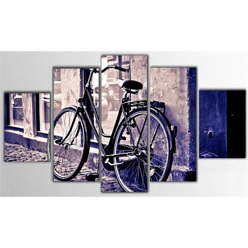 Tictac 5 Parça Kanvas Tablo - Mor Bisiklet - 100X60 Cm