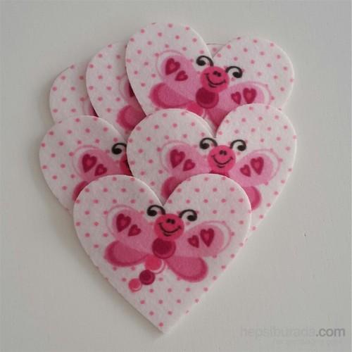 Desenli Keçeler Kelebekli Kalp Desenli Keçe Aplike