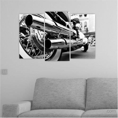 Dekoriza Siyah & Beyaz Motorsiklet 3 Parçalı Kanvas Tablo 80X50cm