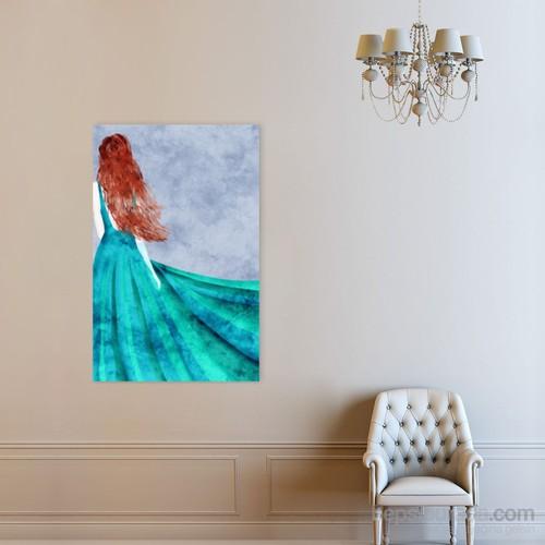 Atlantis Tablo Mavi Elbiseli Kadın 50X75 Cm