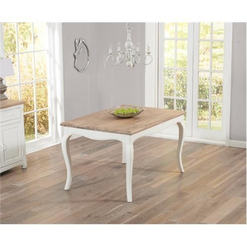 Woodenbend Lyon Eskitilmiş Beyaz Masa 80*120