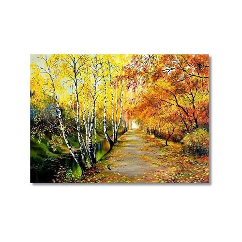 Tictac Sonbaharda Ağaçlar Kanvas Tablo - 60X90 Cm