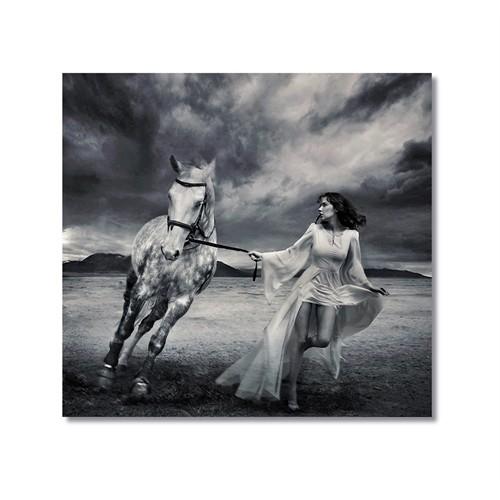 Tictac Beyaz At Kanvas Tablo - 40X60 Cm