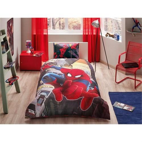 Taç Lisanslı Tek Kişilik Nevresim Takımı - Spiderman İn City