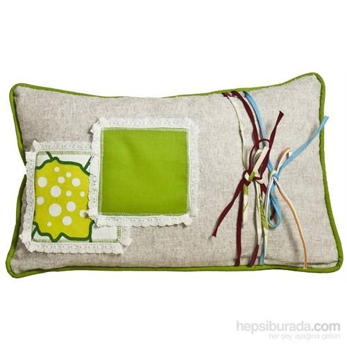 Yastıkminder Keten Kumrenk Yeşil Limon Kareler Yastık