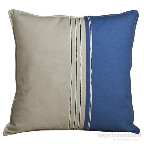 Yastıkminder Koton Gri Mavi Çizgili Yastık