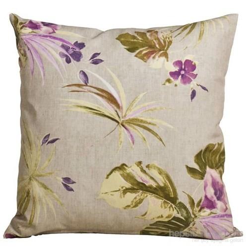 Yastıkminder Koton Kum Zemin Lila Yeşil Çiçekler Dekoratif Yastık
