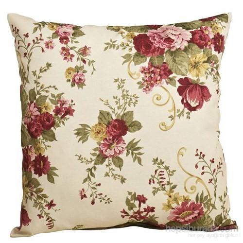 Yastıkminder Koton Kemik Bordo Çiçekler Dekoratif Yastık