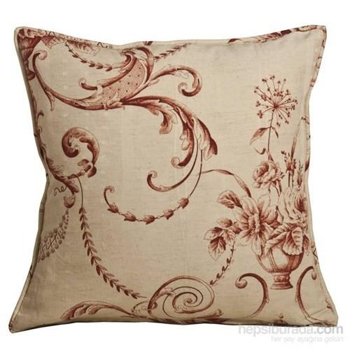 Yastıkminder Koton Kemik Renk Zemin Bordo Çiçekler Dekoratif Yastık