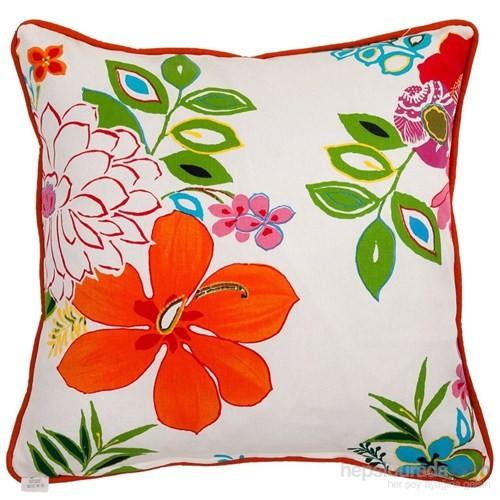 Yastıkminder Koton Beyaz Zemin Kırmızı Çiçekler Dekoratif Yastık