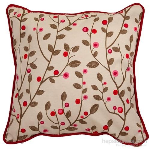 Yastıkminder Koton Kum Pembe Çiçekler Dekoratif Yastık