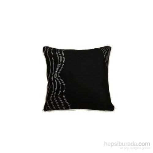 Yastıkminder Beyaz Dalgalı Siyah Yastık