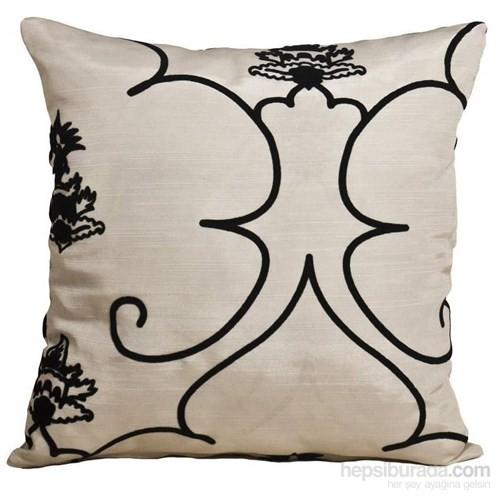 Yastıkminder Tafta Siyah Beyaz Geometrik Desenli Dekoratif Yastık