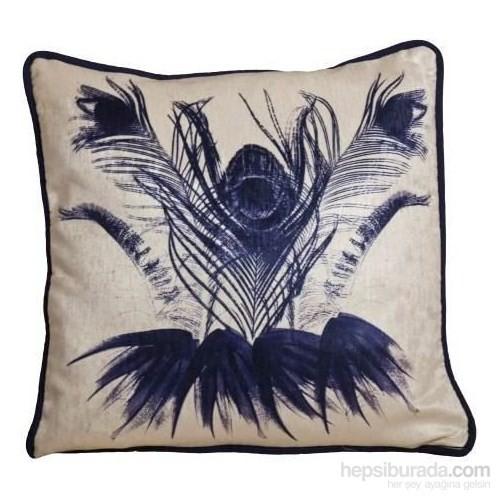 Yastıkminder Kadife Ekru Lacivert Egzotik Çiçekli Yastık