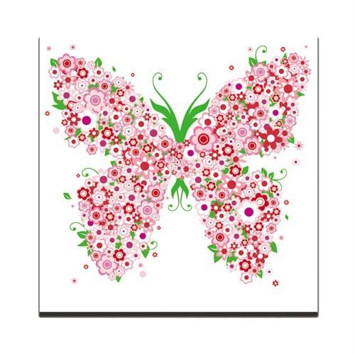 Dolce Home Dekoratif Tablo Kelebek Kırmızı Desen Dg1b1k20m15