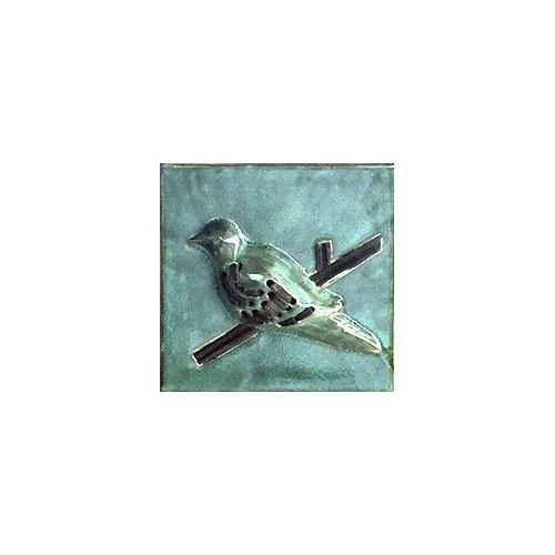 Alldeco Kuşlu Seramik Duvar Dekoru (Oslo Yeşil)20 X 20 X 4 Cm