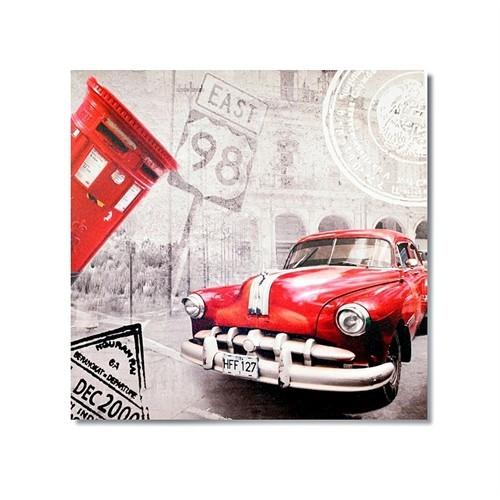 Tictac Küba Ve Kırmızı Araba Kanvas Tablo - 60X60 Cm