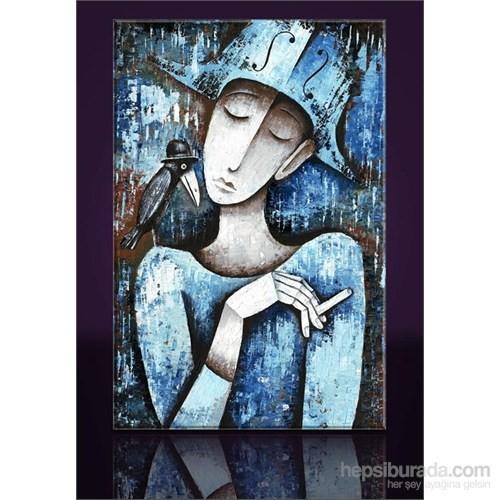 Mavi Şapkalı Kanvas Tablo