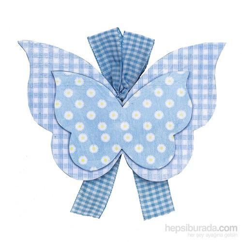 Orta Sofa Mavi Ekoseli Büyük Kelebek