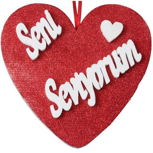 Pandoli Seni Seviyorum Yazılı Simli Kalp Süs 26 Cm